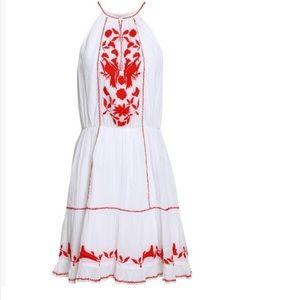 New joie white embroidered mini dress XS